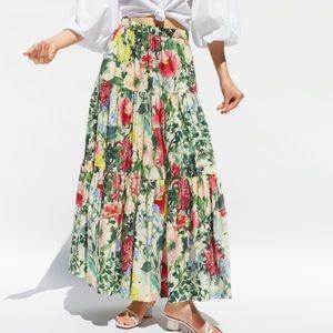 Zara Long Floral Skirt NWT
